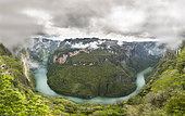 Panoramic view of the Cañon del Sumidero National Park, Chiapas Mexico.