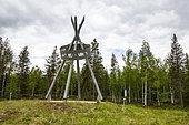 Modern sculpture symbolizing the Arctic Circle, Finland