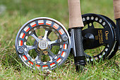 Reels fitted with fishing rods for fly fishing, Moselle, Lorraine, France