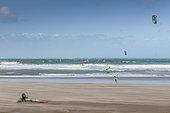 Windsurf and Kitesurf on the beach of Wissant, Opal Coast, Pas-de-Calais, Hauts de France, France