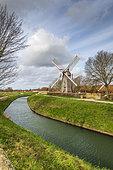 The wing mill in Saint-Martin-au-Laert, Pas-de-Calais, Hauts de France, France