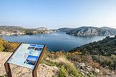 Pannel information in front of the Krka river, Krka National Park, Croatia