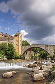 Village Pont-de-Montvert, Tarn Valley, Mont-Lozère, Causses and Cévennes, cultural landscape of Mediterranean agro-pastoralism, classified World Heritage by UNESCO, Cévennes National Park, Classified Biosphere Reserve by l '' UNESCO, Lozère, France