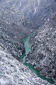 Grand Canyon du Verdon, the Verdon river after a snowfall, Verdon regional natural park, Alpes-de-Haute-Provence, France