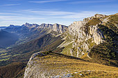 The cliffs of the eastern barrier of Vercors from the Moucherolles pass (2060m), Trièves, Hauts Plateaux du Vercors national nature reserve, Vercors regional natural park, Isère, France