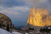 Cliff of Mont Aiguille (2086m) seen from Pas de la Selle, Trièves, Hauts Plateaux du Vercors national nature reserve, Vercors regional natural park, Isère, France