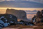Mont Aiguille (2086m), Trièves, Hauts Plateaux du Vercors national nature reserve, Vercors regional natural park, Isère, France