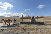 Hustai National Park, where the Przewalski Horse (Equus caballus przewalskii or Equus ferus przewalskii), was released from 1993 in Khustain Nuruu National Park, entrance of the park, Mongolia