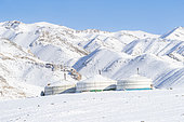 Yurt in the snow, Valley with snow and rocks, Altai mouuntains, West Mongolia, Mongolia