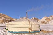 Yurt in the snow, Altai mountains, West Mongolia, Mongolia