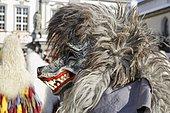 Traditional Swabian-Alemannic Fastnacht, Narrensprung carnival parade, Haidach Wolf character, Haidachgeister Kressbronn group, Wangen im Allgäu, Upper Swabia, Baden-Württemberg, Germany, Europe