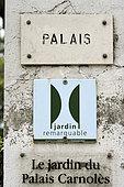 Panel 'Remarkable Garden', Palais Carnolès, citrus fruit garden, Conservatoire spécialisé de végétaux, Menton, Alpes-Maritimes, France