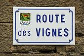 Street sign, Route des Vignes, village, Orbagna, Jura, France