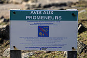 Sign, Notice to walkers, protection against moving stones, for revegetation, Pointe du Raz, Plogoff, Finistère, France