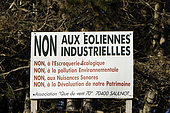 Sign, opposition to the installation of wind turbines, hamlet of Malval, Saulnot, Haute Saone, France