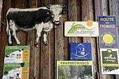 Signs at the entrance, Treh farmhouse, Trehkopf, Haut Rhin, Hautes Vosges, France
