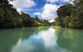 Paysage de la rivière Lacantun, Réserve de la biosphère de Montes Azules, Chiapas, Mexique.