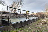 "Diy"" frame for growing in a garden in winter, Vosges, France"
