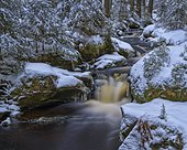 Winter landscape at Hammerbach, long-term exposure, Sumava National Park, Bohemian Forest, Czech Republic, Europe