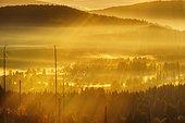 Morning fog in Sumava National Park in Czech Republic, Sumava, view from Siebensteinkopf, near Finsterau, Bavarian Forest, Lower Bavaria, Bavaria, Germany, Europe