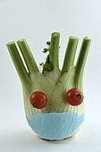 Head with mask for protection against viruses, character, vegetables, fennel, tomatoes, garden, Belfort, Territoire de Belfort, France