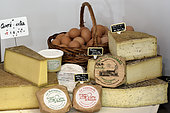 Eggs, cheeses from local farms, shop selling direct farm products, Ferme des Grands Champs, Esprels, Haute Saone, France