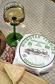 AOP farmer's Munster cheese, glass of Alsace wine, bread, Haag farmhouse, Grand Ballon, Hautes-Vosges, Haut-Rhin, France