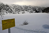 EDF sign Swimming and diving prohibited, glacial cirque under the Gazon du Faing, Lac Blanc, winter, snow, Orbey, Hautes-Vosges, Haut-Rhin, France