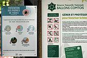 Signpost Ballons Comtois Nature Reserve, Prevention of Tick Bites, forest, La Planche des Belles Filles, above Plancher-les-Mines, Haute-Saône, France