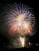 Fireworks in the night, Fuenfknopfturm, Five-Button-Tower, Kaufbeuern, Allgaeu, Germany, Europe