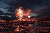 Annual fireworks over the glacier lagoon Jökulsárlón, South Iceland, Iceland, Europe