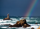 Vielle lighthouse with a rainbow, Raz de Sein, Brittany, France
