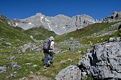 Hiking on the GR10 along the Val d'Azun in spring, Aspe valley, Pyrenees, France