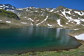 Lac d'Aule in spring, Ossau valley, Pyrenees, France