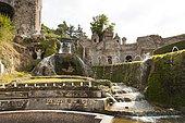 Tiburtine Mountain and statues of The Aniene and The Appenine, at Villa d'Este gardens, Tivoli, Lazio, Italy, Europe