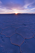 Landscape at sunset in Salinas Grandes in the province of Jujuy, Argentina, South America, America