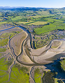 Aerial View, Campiezo river, Ría de Ajo, Ajo, Bareyo Municipality, Cantabria, Spain, Europe