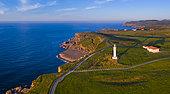 Aerial View, Ajo Lighthouse, Ajo, Bareyo Municipality, Cantabria, Cantabrian Sea, Spain, Europe
