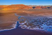 Patterns, Aerial View, Laguna Carachi Pampa, El Peñón village, La Puna, Argentina, South America, America