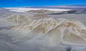 Dunas Blancas, White Dunes, Aerial View, Campos de Piedra Pomez, El Peñón village, La Puna, Argentina, South America, America