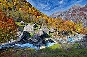 Ticino stone houses, Puntid, stream Calnegia, Val Calnegia, canton Ticino, Switzerland, Europe