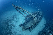 Wreck of the fishing boat Fortunal, which lies between 40 and 55 metres. Vis Island, Croatia, Adriatic Sea, Mediterranean