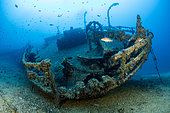 Teti wreck stern, built in 1883 as a steamship and later turned into a merchant cargo ship. Sunk on a stormy night on May 23rd/1930, it lies at max 34m close to Komiza, Vis Island, Croatia, Adriatic Sea, Mediterranean