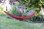 Hammock in a garden in summer, Vosges, France
