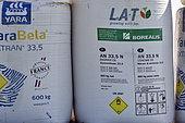 Bags of ammonium nitrate fertiliser, France