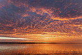 Sunrise with cloudy sky, Magdalena Bay, Baja California, Mexico.