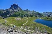 Sentier de randonnée du PN des Pyrénées : Lac Roumassot et Pic du Midi d'Ossau, Vallée d'Ossau, Pyrénées Atlantiques, France