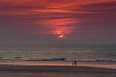 Sunset on beach of Sangatte in summer, Côte d'Opale, Pas de Calais, France