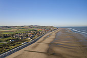 Aerial view of the village of Sangatte and its beach in summer, Opal Coast, Pas de Calais, France