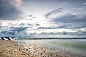 Beach of Sangatte in long exposure in autumn, Côte d'Opale, Pas de Calais, France